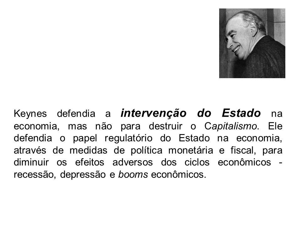Keynes defendia a intervenção do Estado na economia, mas não para destruir o Capitalismo.