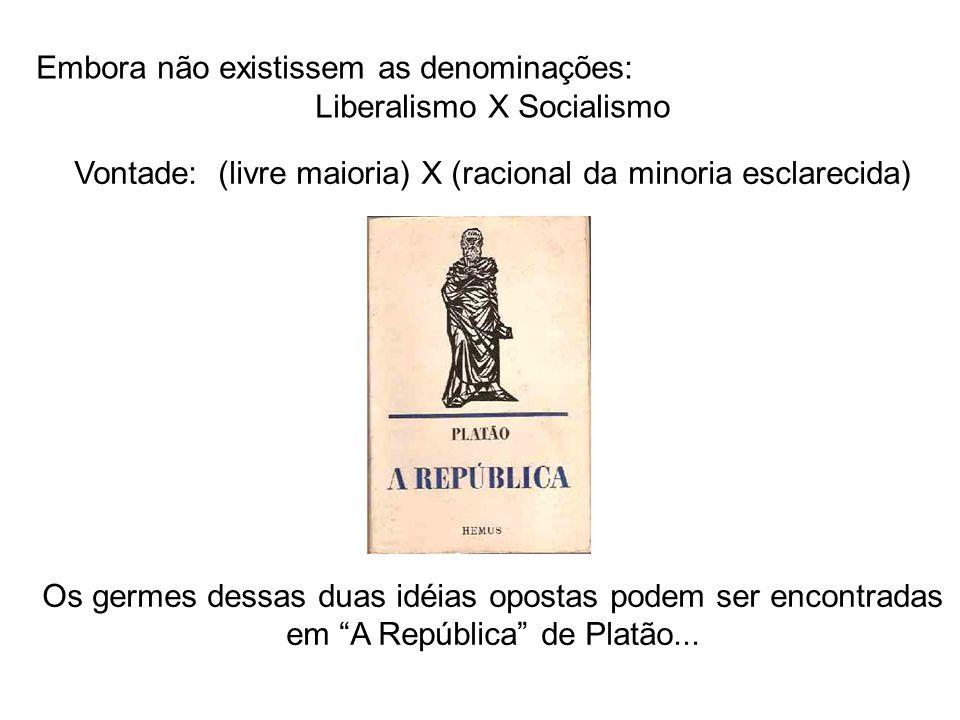 Embora não existissem as denominações: Liberalismo X Socialismo