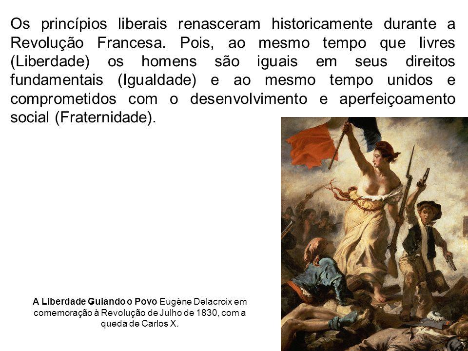 Os princípios liberais renasceram historicamente durante a Revolução Francesa. Pois, ao mesmo tempo que livres (Liberdade) os homens são iguais em seus direitos fundamentais (Igualdade) e ao mesmo tempo unidos e comprometidos com o desenvolvimento e aperfeiçoamento social (Fraternidade).