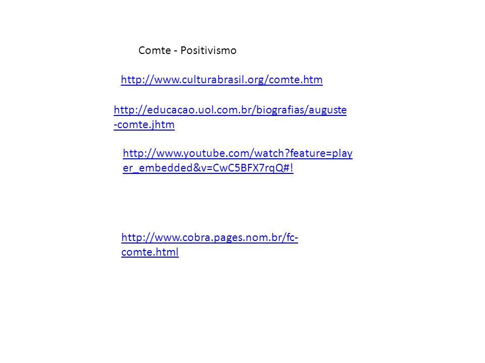 Comte - Positivismo http://www.culturabrasil.org/comte.htm. http://educacao.uol.com.br/biografias/auguste-comte.jhtm.