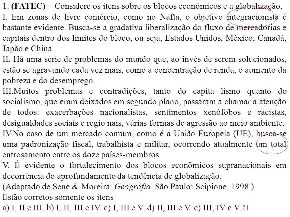 1. (FATEC) – Considere os itens sobre os blocos econômicos e a globalização.