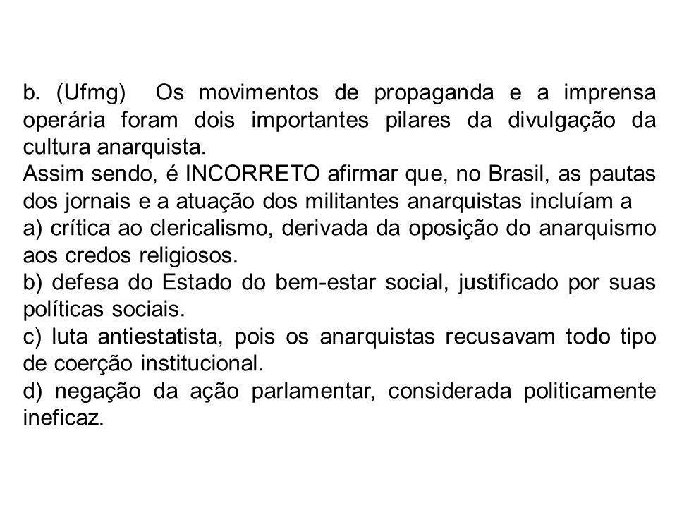 b. (Ufmg) Os movimentos de propaganda e a imprensa operária foram dois importantes pilares da divulgação da cultura anarquista.