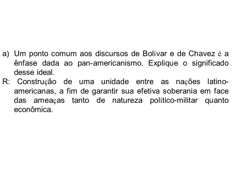 Um ponto comum aos discursos de Bolívar e de Chavez é a ênfase dada ao pan-americanismo. Explique o significado desse ideal.