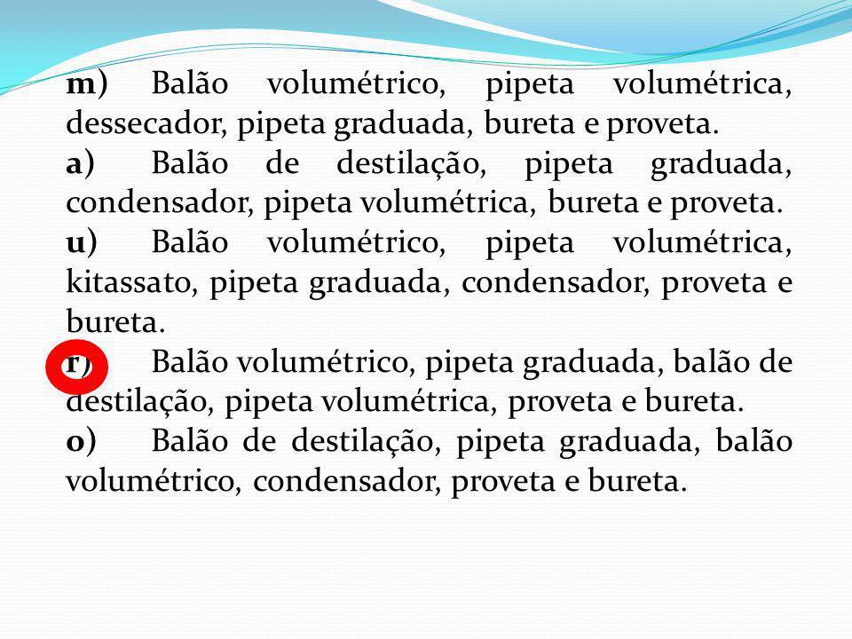 m) Balão volumétrico, pipeta volumétrica, dessecador, pipeta graduada, bureta e proveta.