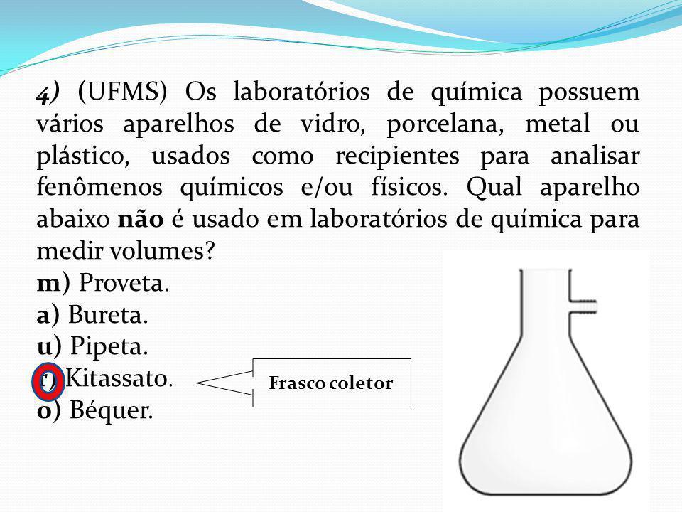 4) (UFMS) Os laboratórios de química possuem vários aparelhos de vidro, porcelana, metal ou plástico, usados como recipientes para analisar fenômenos químicos e/ou físicos. Qual aparelho abaixo não é usado em laboratórios de química para medir volumes