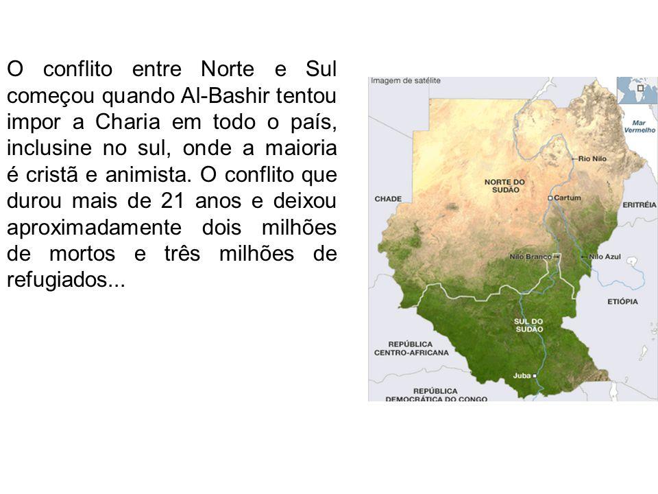 O conflito entre Norte e Sul começou quando Al-Bashir tentou impor a Charia em todo o país, inclusine no sul, onde a maioria é cristã e animista.