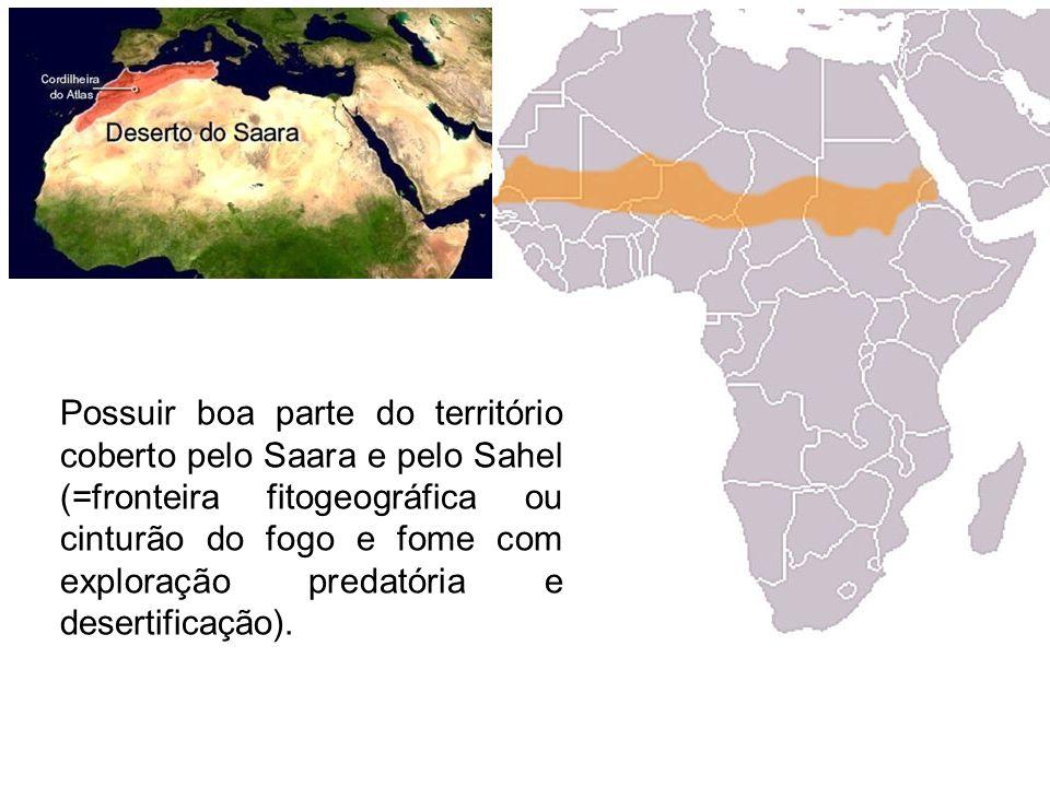 Possuir boa parte do território coberto pelo Saara e pelo Sahel (=fronteira fitogeográfica ou cinturão do fogo e fome com exploração predatória e desertificação).