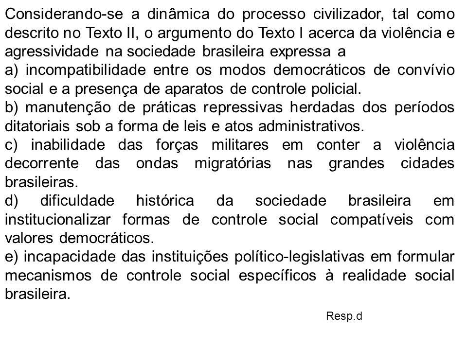 Considerando-se a dinâmica do processo civilizador, tal como descrito no Texto II, o argumento do Texto I acerca da violência e agressividade na sociedade brasileira expressa a