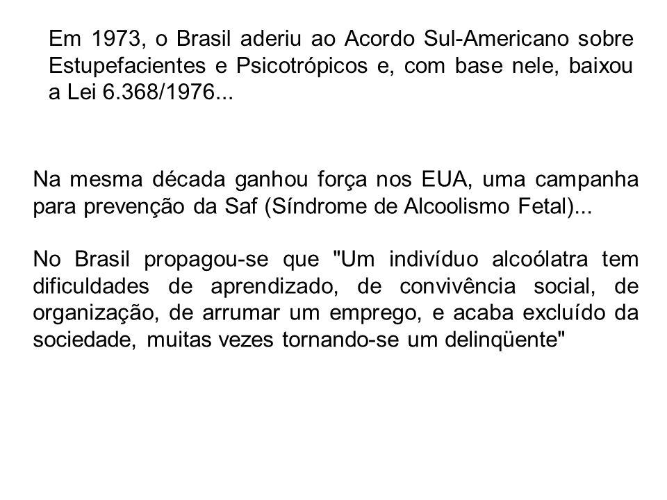 Em 1973, o Brasil aderiu ao Acordo Sul-Americano sobre Estupefacientes e Psicotrópicos e, com base nele, baixou a Lei 6.368/1976...