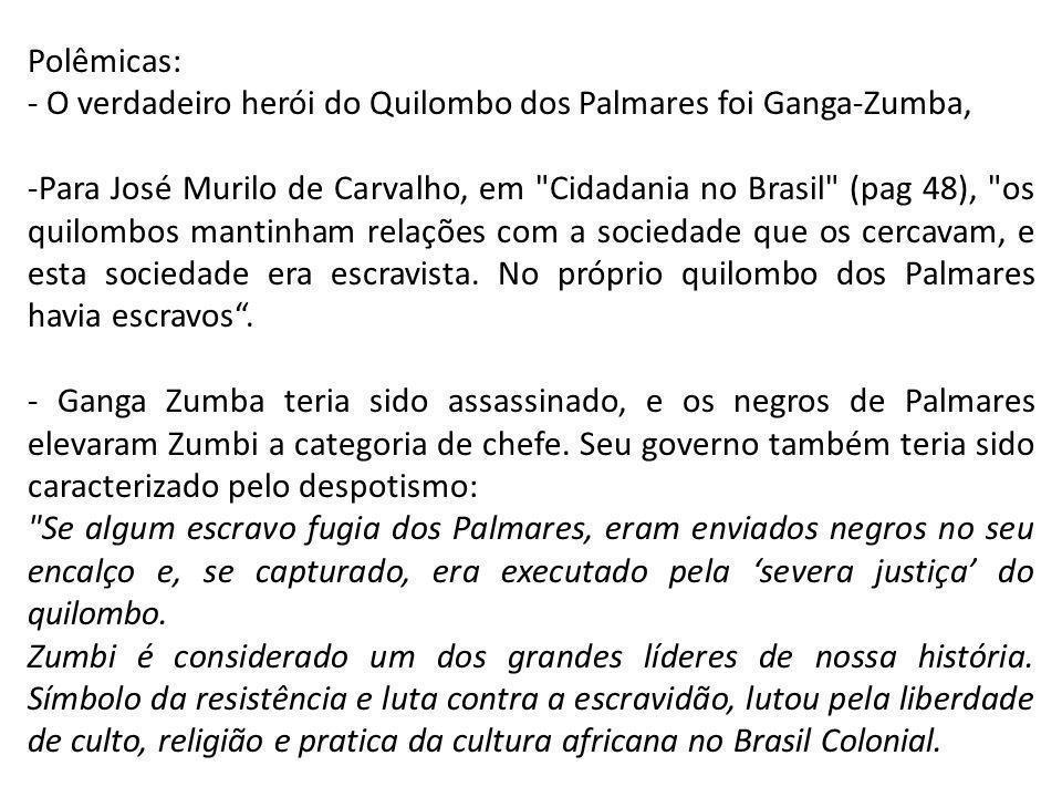 Polêmicas: - O verdadeiro herói do Quilombo dos Palmares foi Ganga-Zumba,