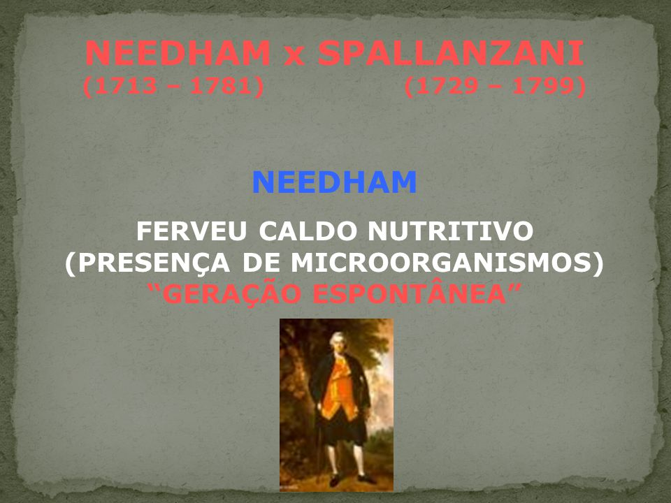NEEDHAM x SPALLANZANI (1713 – 1781) (1729 – 1799)