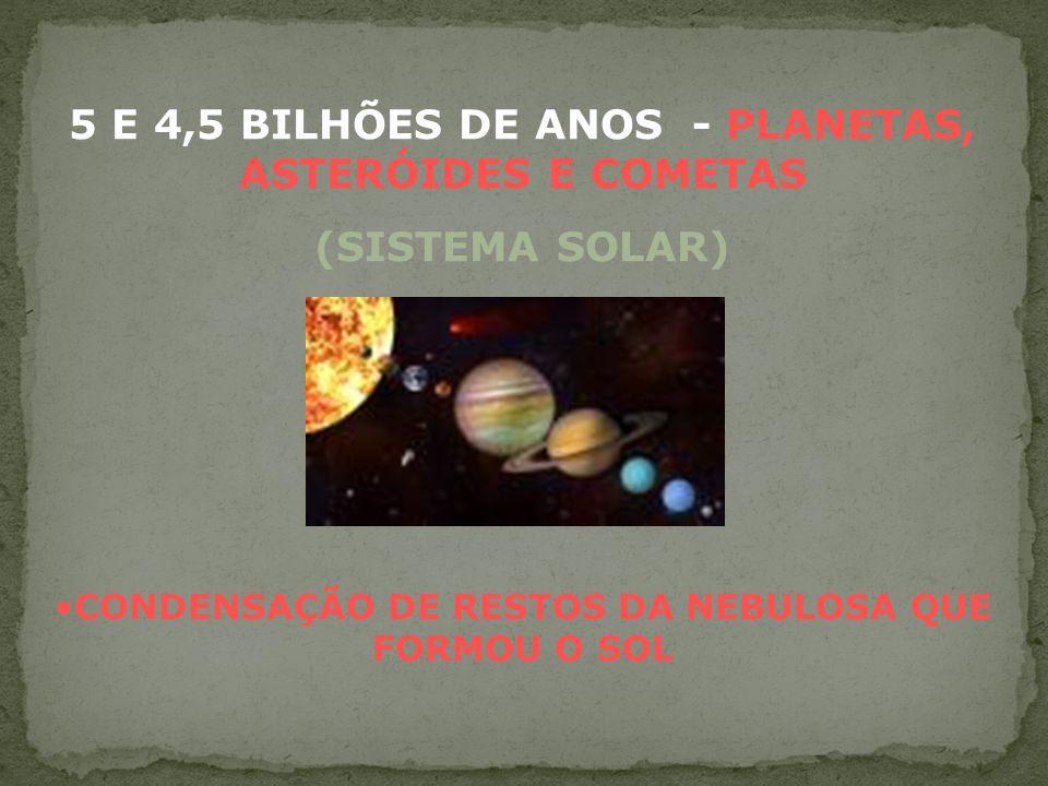 5 E 4,5 BILHÕES DE ANOS - PLANETAS, ASTERÓIDES E COMETAS