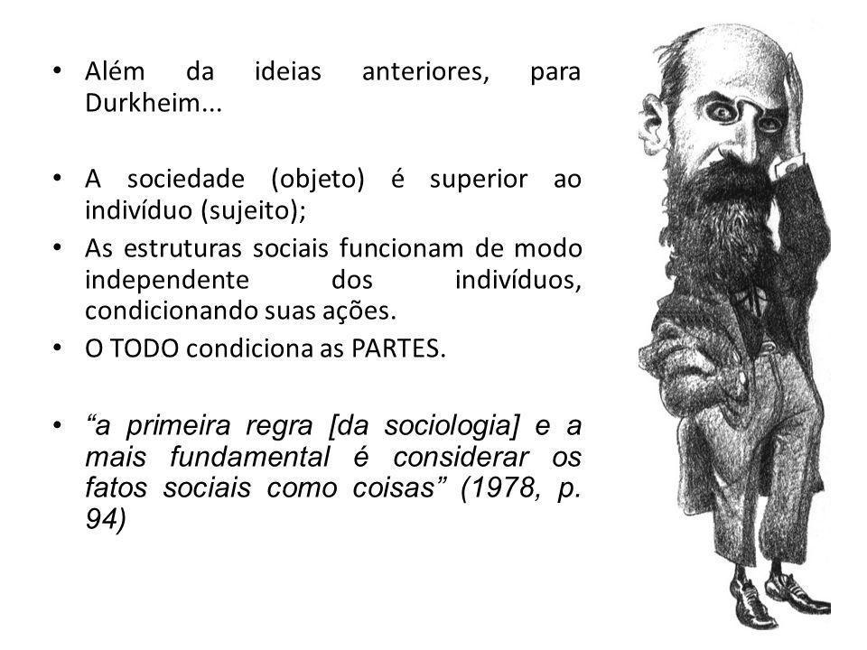 Além da ideias anteriores, para Durkheim...