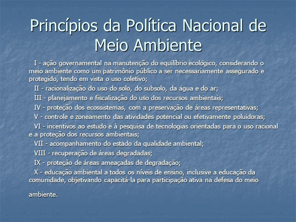 Princípios da Política Nacional de Meio Ambiente