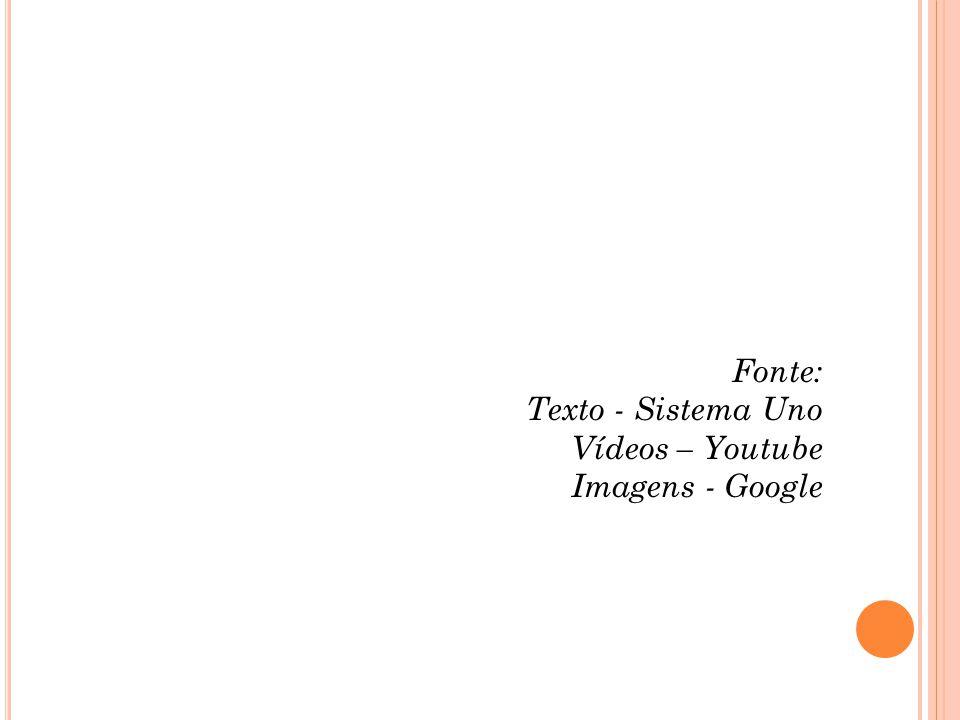 Fonte: Texto - Sistema Uno Vídeos – Youtube Imagens - Google
