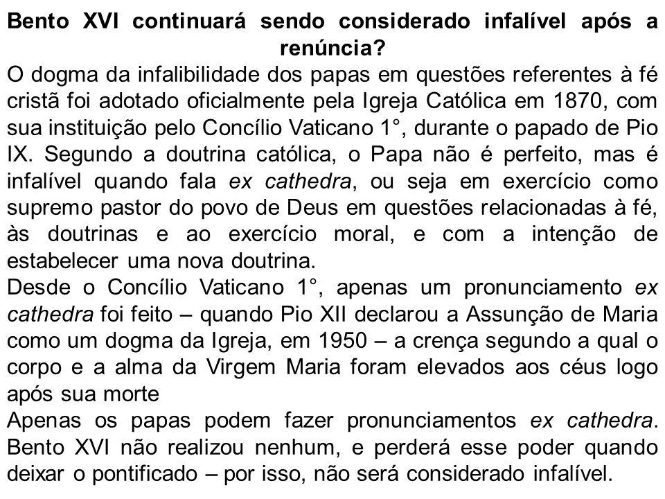 Bento XVI continuará sendo considerado infalível após a renúncia