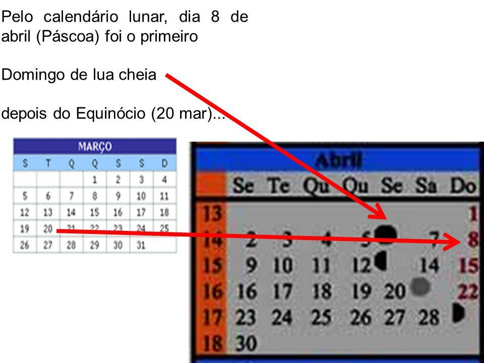 Pelo calendário lunar, dia 8 de abril (Páscoa) foi o primeiro