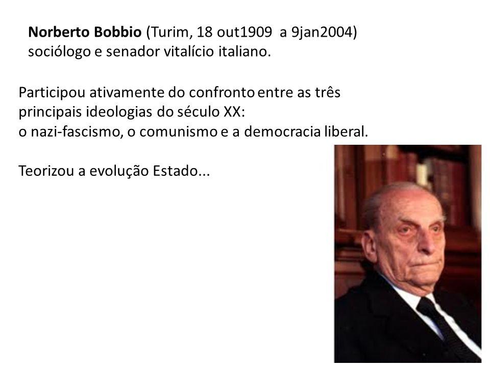 Norberto Bobbio (Turim, 18 out1909 a 9jan2004) sociólogo e senador vitalício italiano.