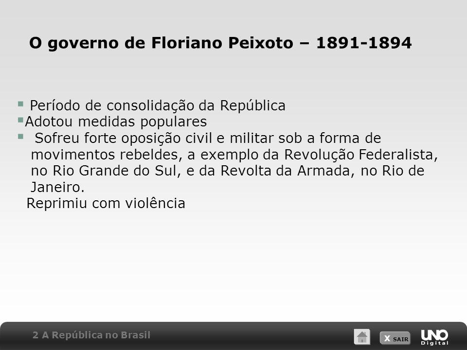 O governo de Floriano Peixoto – 1891-1894