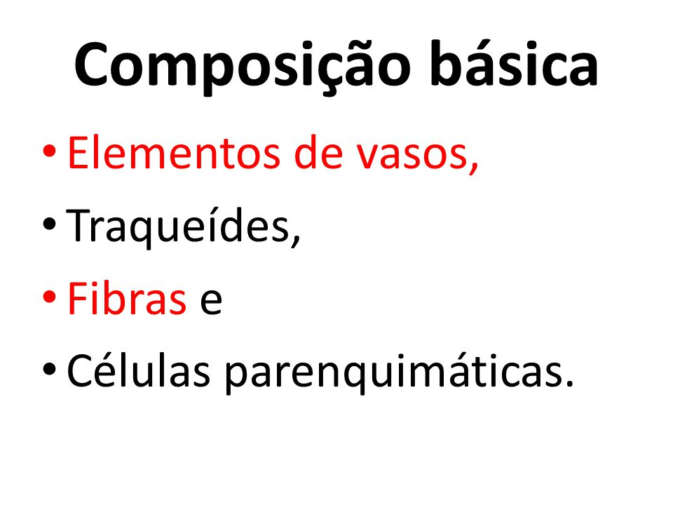 Composição básica Elementos de vasos, Traqueídes, Fibras e