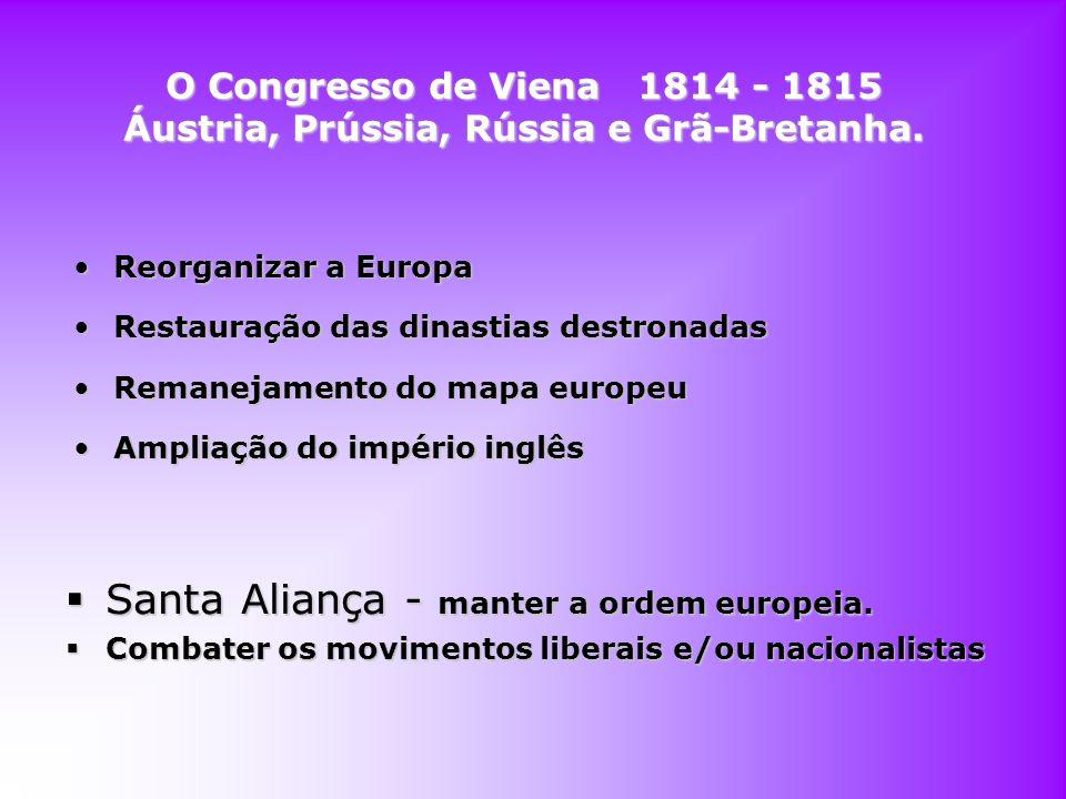 Santa Aliança - manter a ordem europeia.
