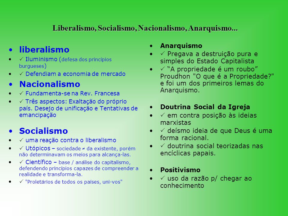 Liberalismo, Socialismo, Nacionalismo, Anarquismo...