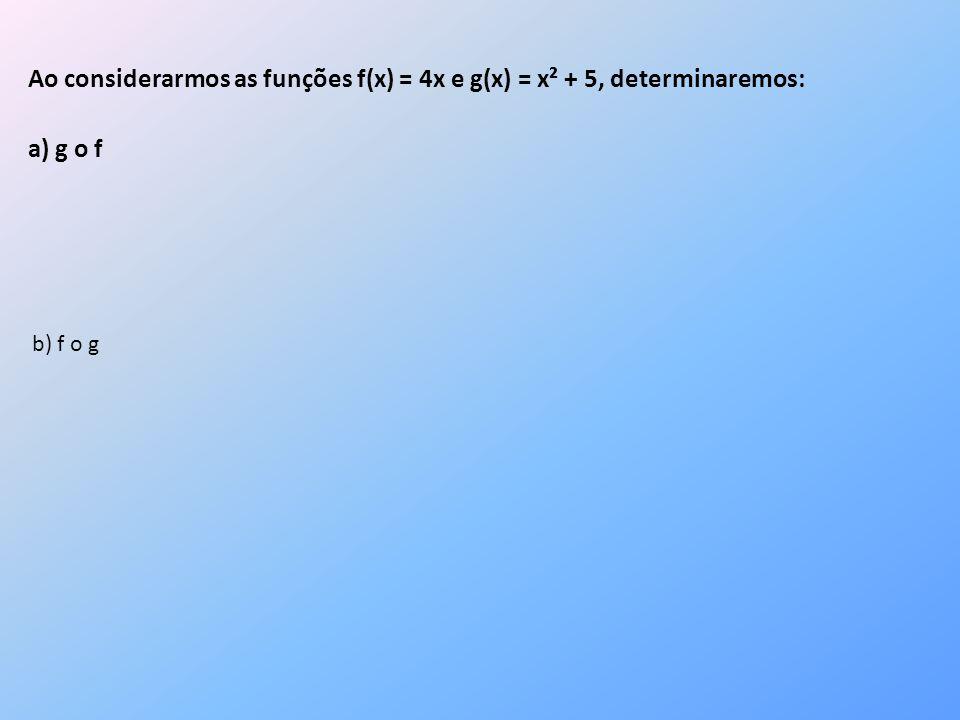 Ao considerarmos as funções f(x) = 4x e g(x) = x² + 5, determinaremos:
