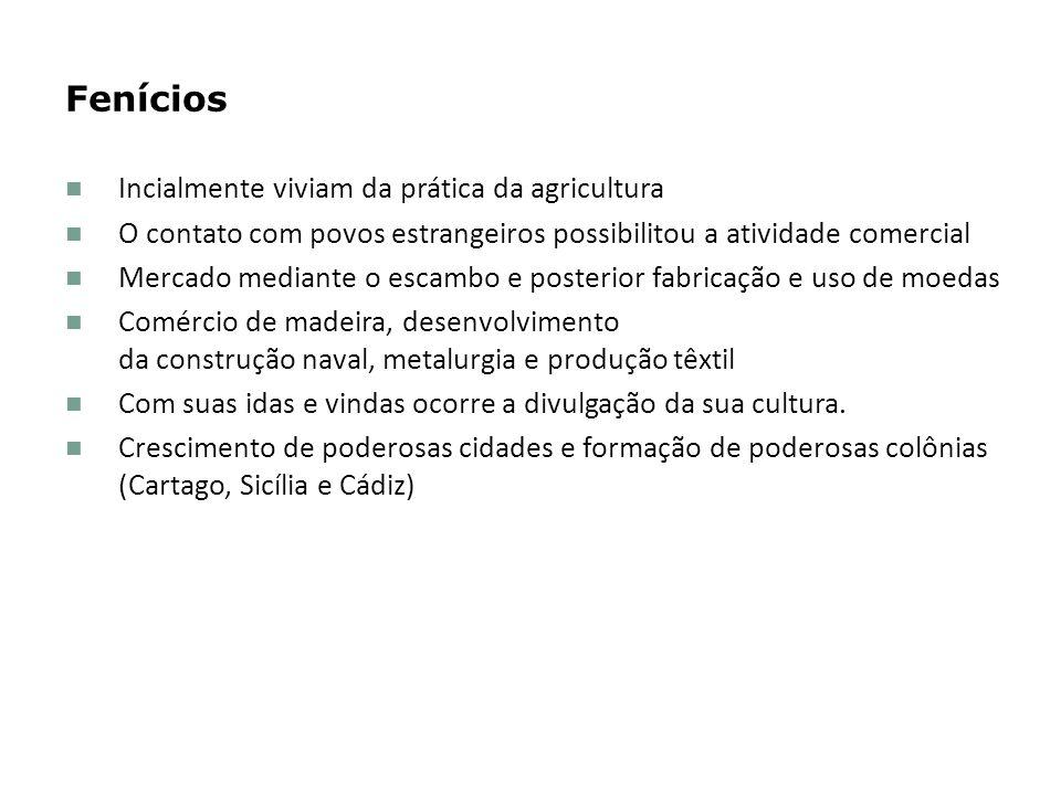 Fenícios Incialmente viviam da prática da agricultura