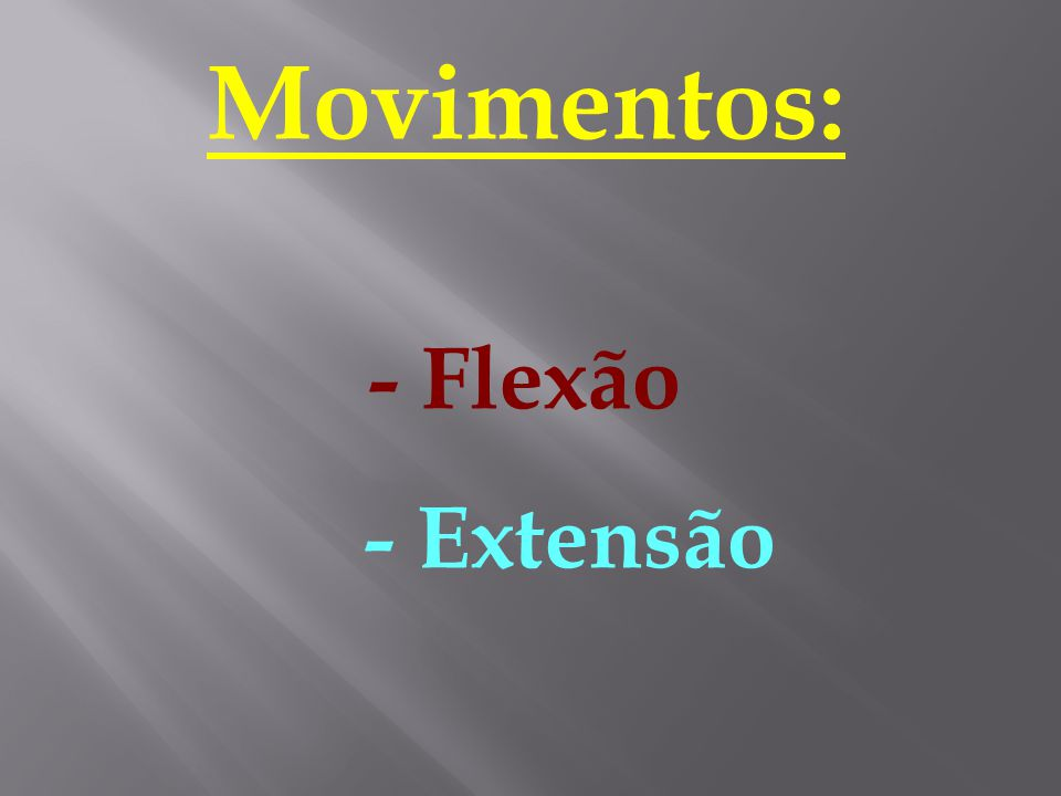 Movimentos: - Flexão - Extensão