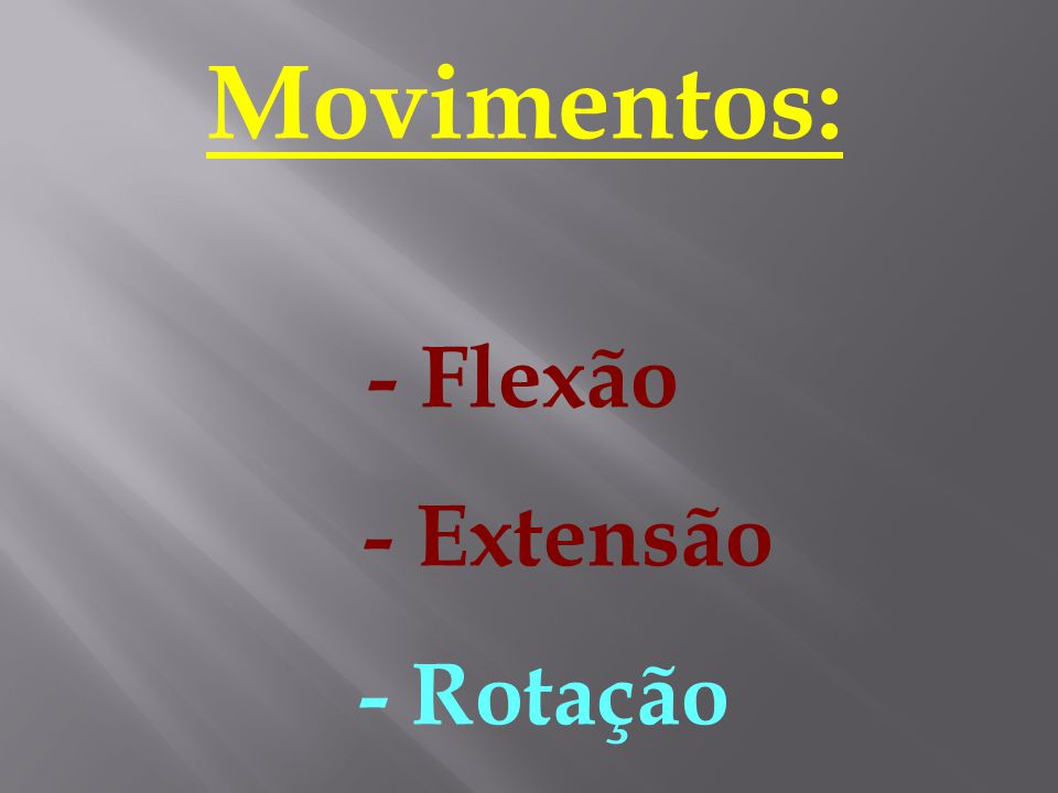 Movimentos: - Flexão - Extensão - Rotação