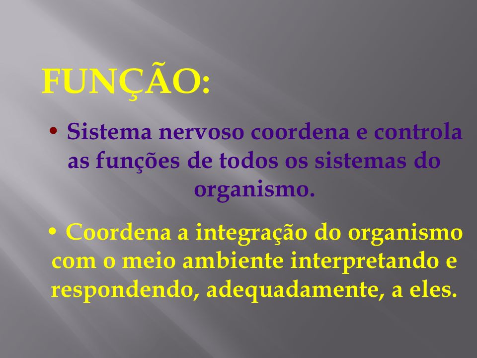 FUNÇÃO: Sistema nervoso coordena e controla as funções de todos os sistemas do organismo.