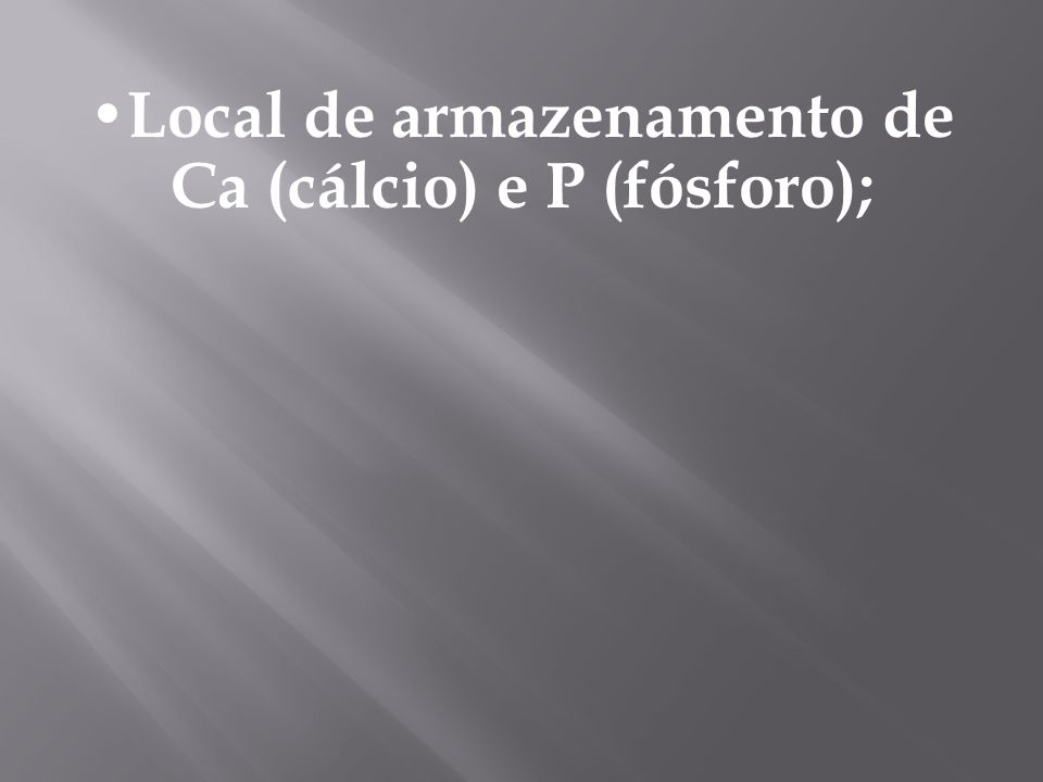 Local de armazenamento de Ca (cálcio) e P (fósforo);