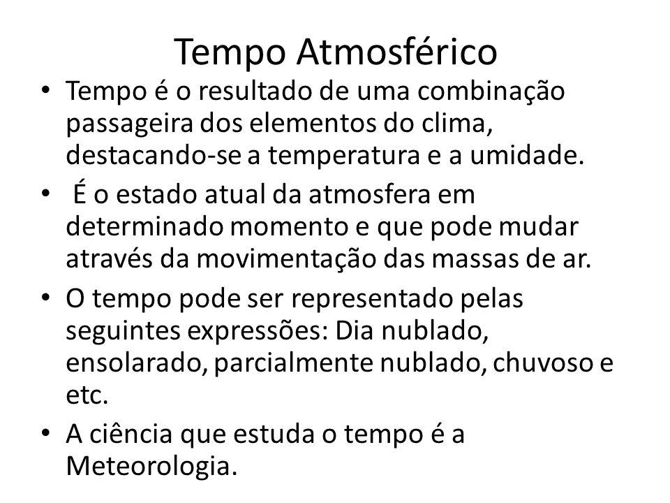 Tempo Atmosférico Tempo é o resultado de uma combinação passageira dos elementos do clima, destacando-se a temperatura e a umidade.