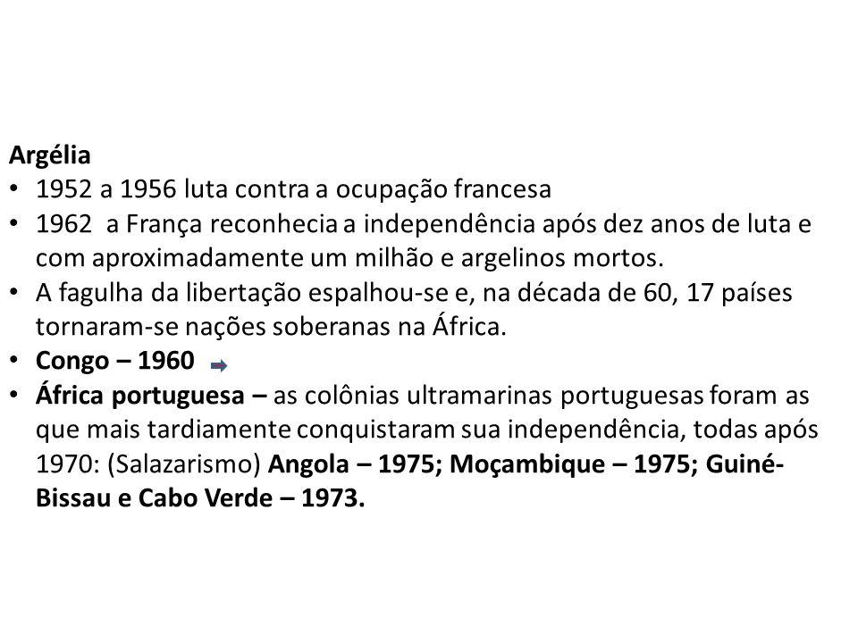 Argélia 1952 a 1956 luta contra a ocupação francesa.