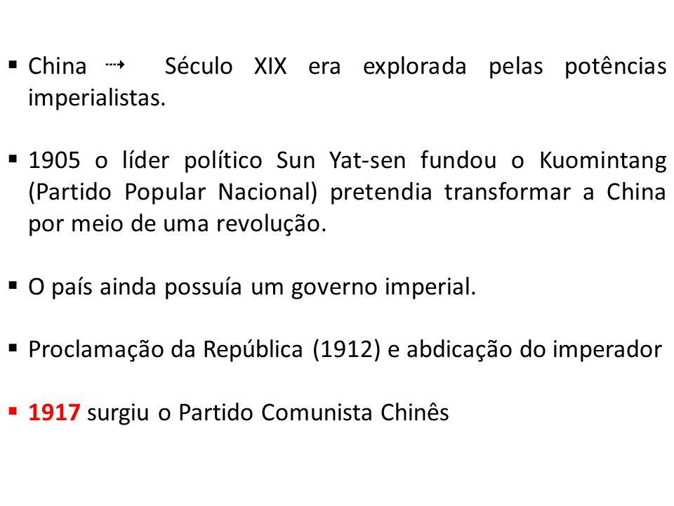 China  Século XIX era explorada pelas potências imperialistas.