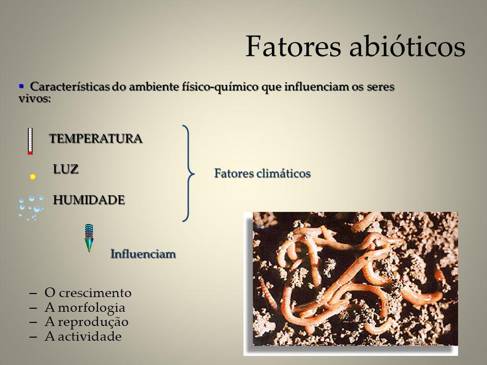 Fatores abióticos O crescimento A morfologia A reprodução A actividade