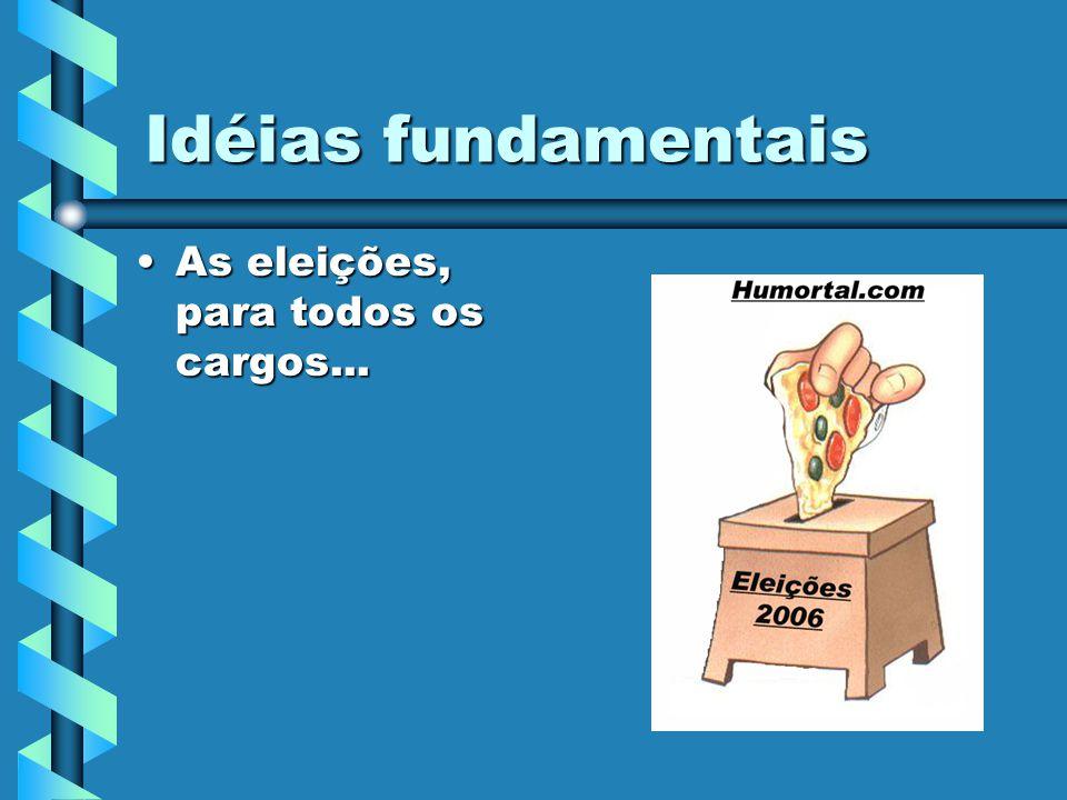 Idéias fundamentais As eleições, para todos os cargos...