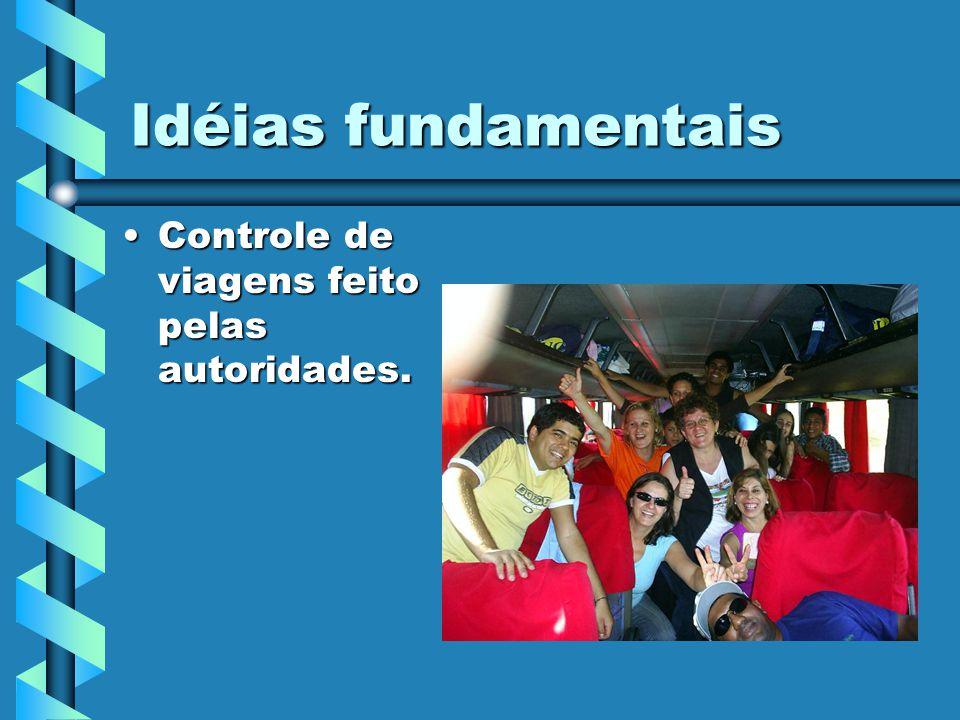 Idéias fundamentais Controle de viagens feito pelas autoridades.