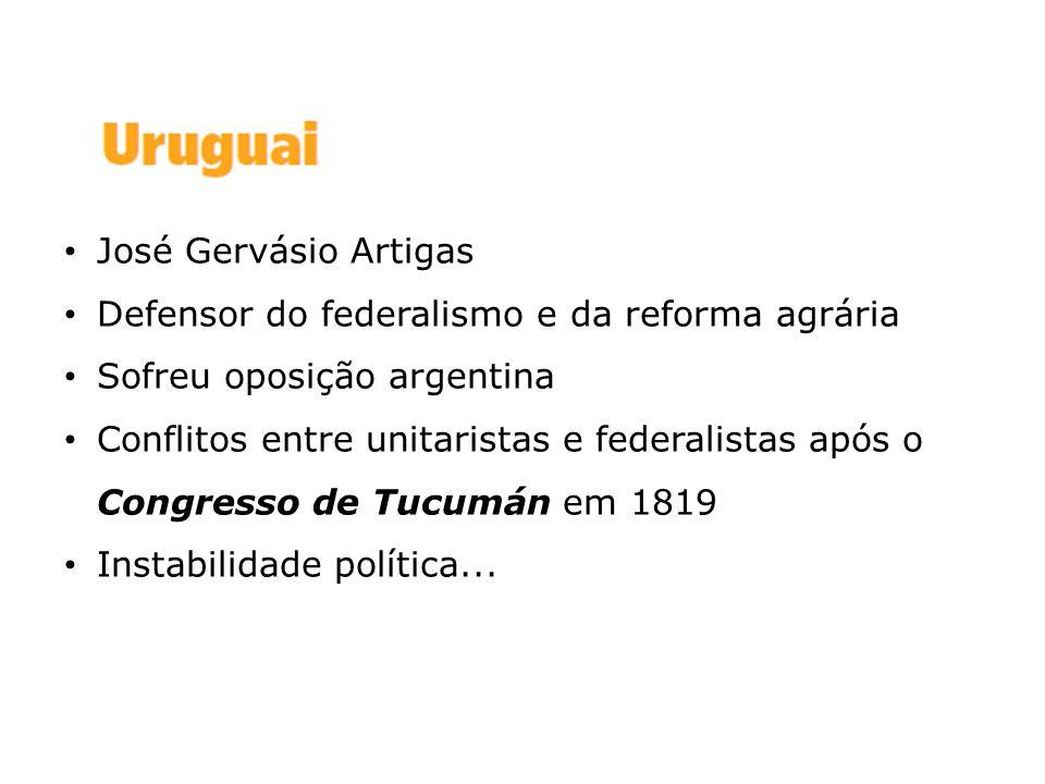 José Gervásio Artigas Defensor do federalismo e da reforma agrária. Sofreu oposição argentina.