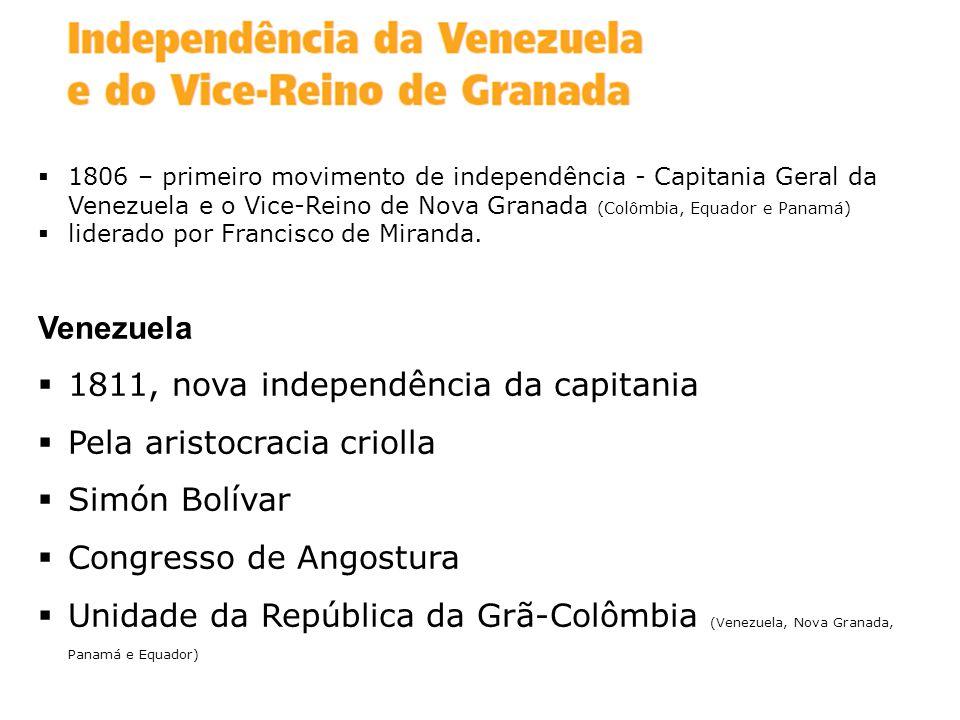 1811, nova independência da capitania Pela aristocracia criolla