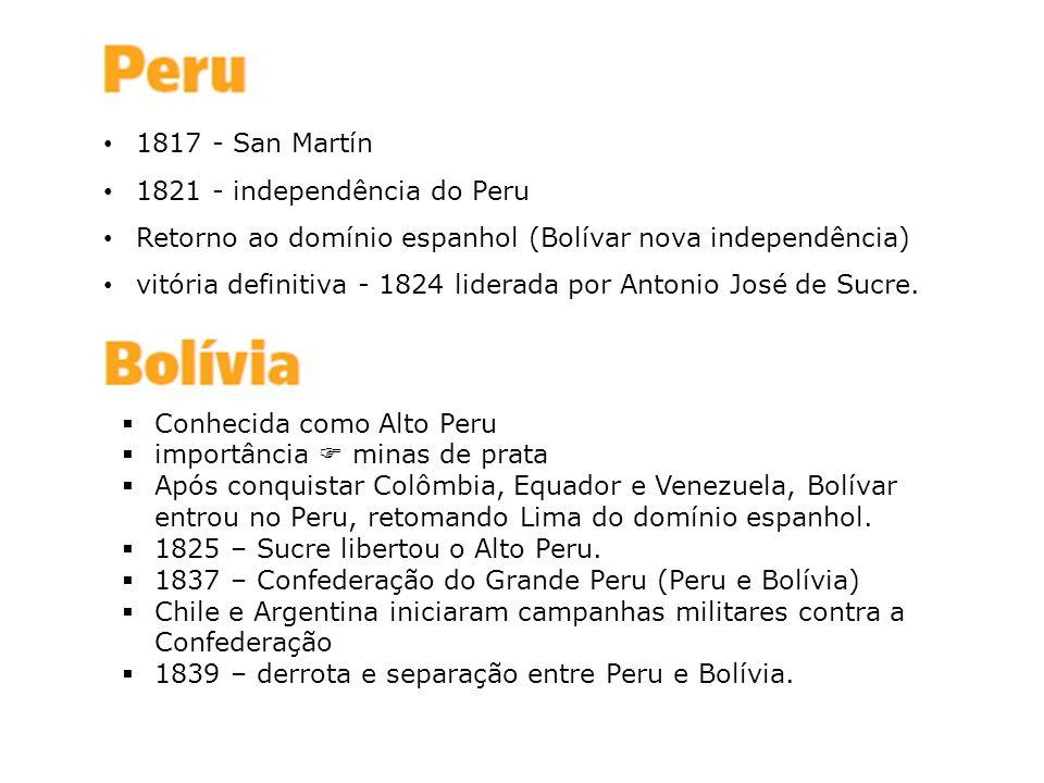 1817 - San Martín 1821 - independência do Peru. Retorno ao domínio espanhol (Bolívar nova independência)
