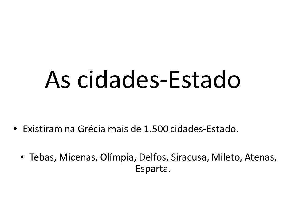 Tebas, Micenas, Olímpia, Delfos, Siracusa, Mileto, Atenas, Esparta.