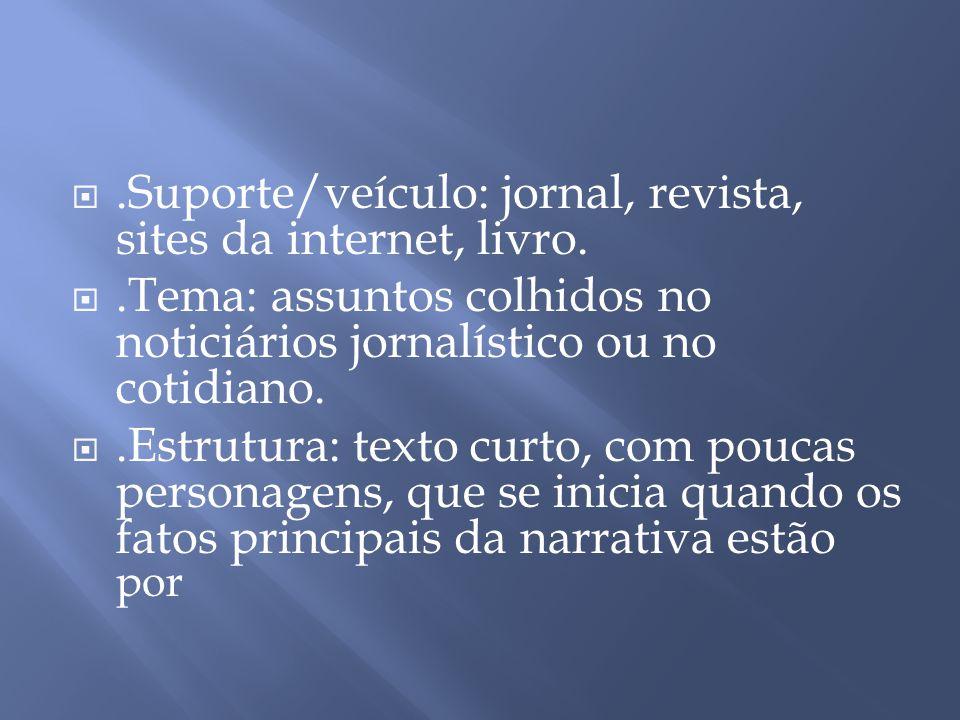 .Suporte/veículo: jornal, revista, sites da internet, livro.