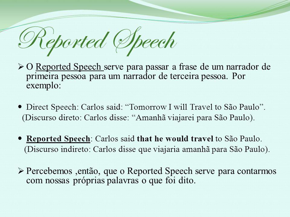 Reported Speech O Reported Speech serve para passar a frase de um narrador de primeira pessoa para um narrador de terceira pessoa. Por exemplo: