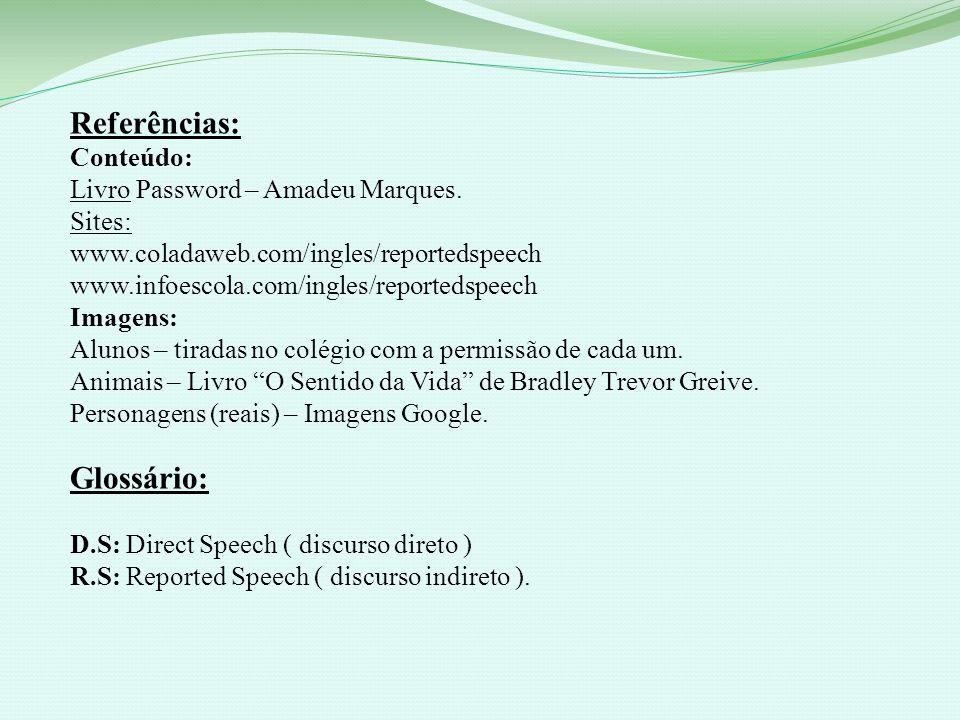 Referências: Glossário: Conteúdo: Livro Password – Amadeu Marques.