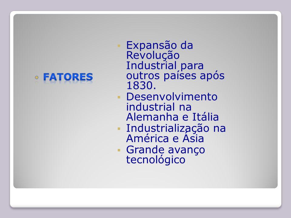 Expansão da Revolução Industrial para outros países após 1830.