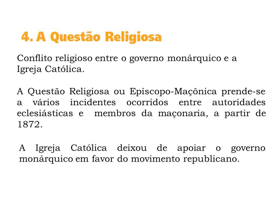 Conflito religioso entre o governo monárquico e a Igreja Católica.