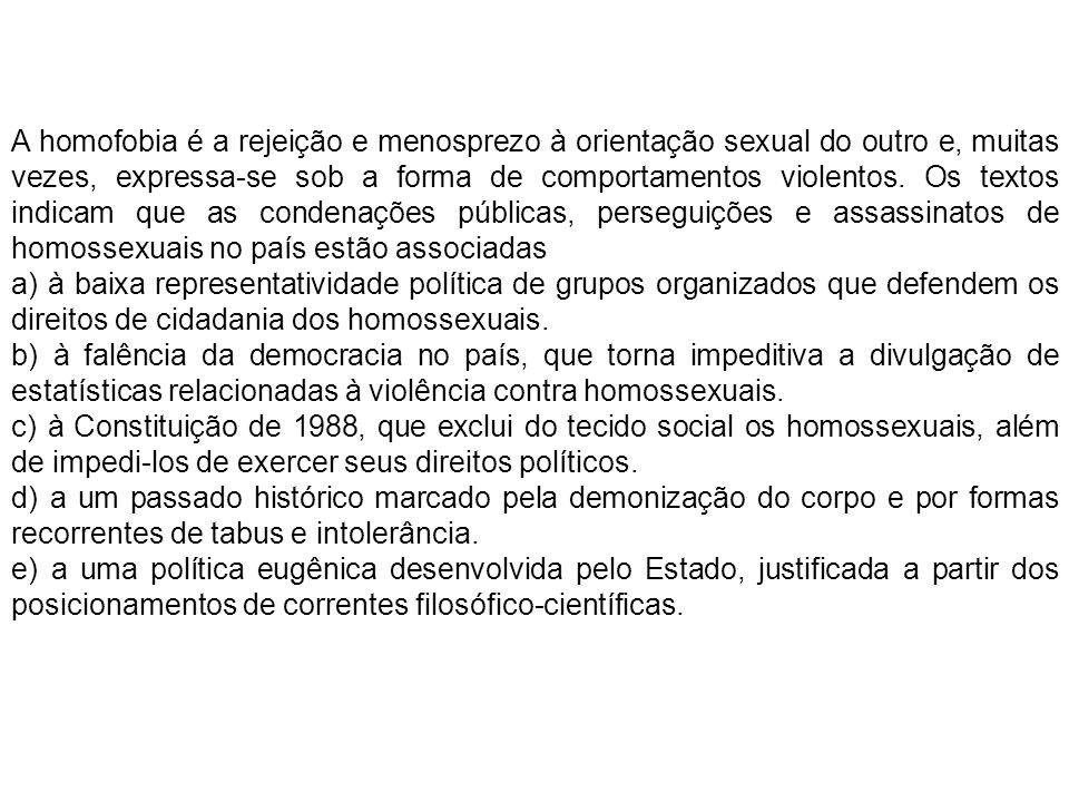 A homofobia é a rejeição e menosprezo à orientação sexual do outro e, muitas vezes, expressa-se sob a forma de comportamentos violentos. Os textos indicam que as condenações públicas, perseguições e assassinatos de homossexuais no país estão associadas