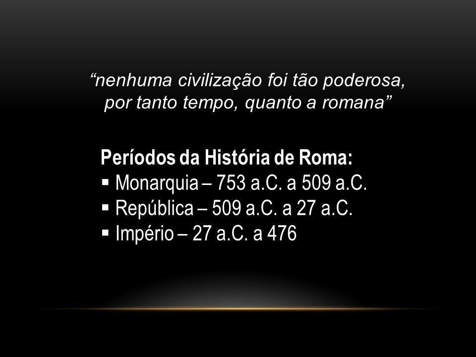 Períodos da História de Roma: Monarquia – 753 a.C. a 509 a.C.
