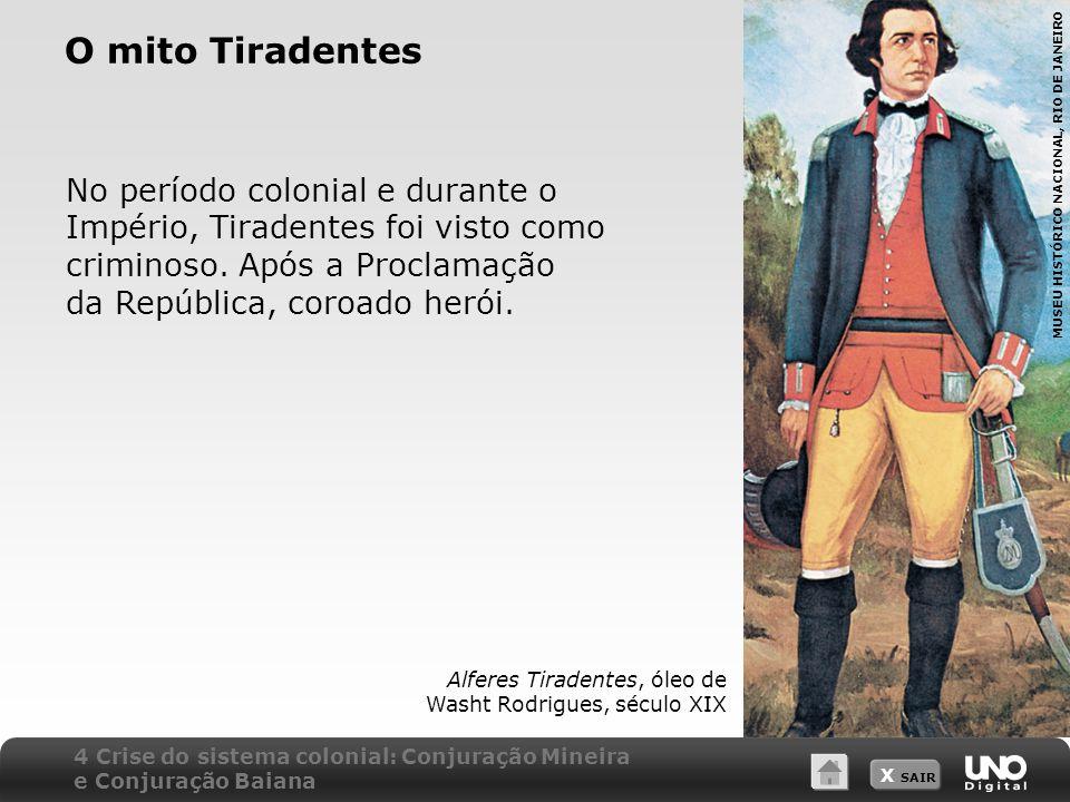 O mito Tiradentes No período colonial e durante o Império, Tiradentes foi visto como criminoso. Após a Proclamação da República, coroado herói.